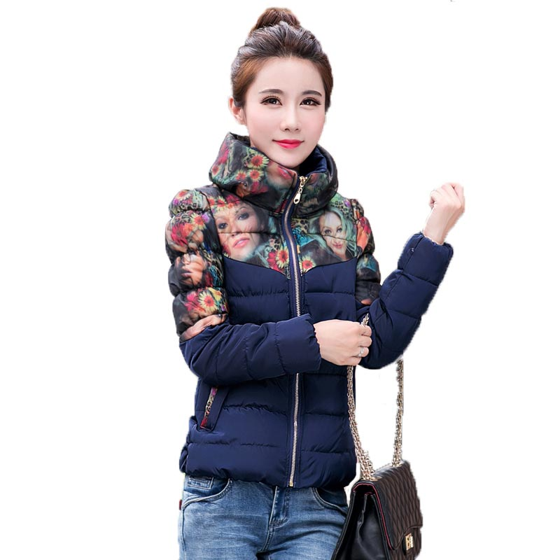ФОТО Winter Jacket Women Short Cotton Coat Long Sleeve Print Outerwear Fashion Stand Collar Slim Coat for Female PW0110