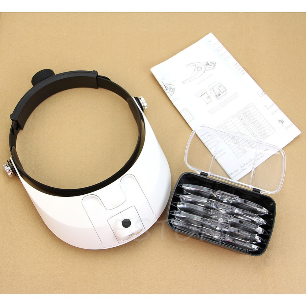 LED Lamp Light Headband Headset Head Jeweler Magnifier Magnifying Glass Loupe-Y103