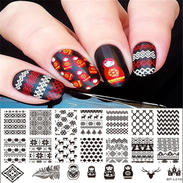 1 Pc Russian Doll Sweater Pattern Nail Art St Template Image Plate Born Pretty Bp