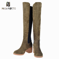 Prova Perfetto High Heel Stretch Lycra Long Boots Party Shoes Woman Fashion Suede Knee Boots Chunky Heel Comfort Western Boot