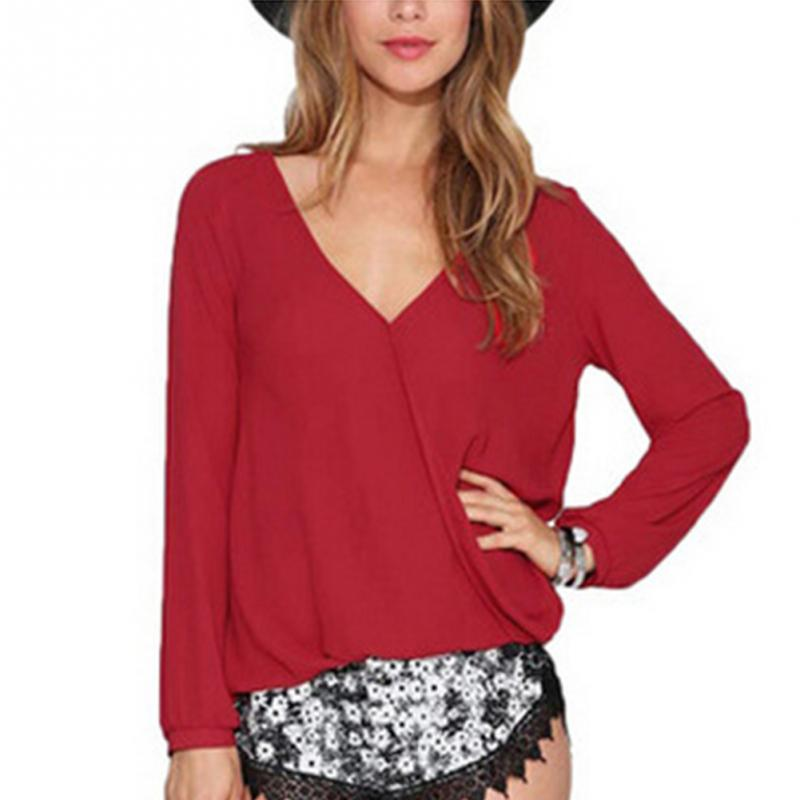 Hot Sale Cotton Blusas Femininas Women V Neck Solid Chiffon Blouse Sexy Lady Long Sleeve Blous Fashion Blouses Shirt  Tops