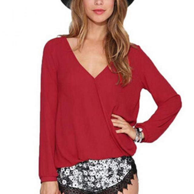 V Neck Solid Chiffon Blouse Tees , Shirts & Tops Women color: Black|Red|White|wine red