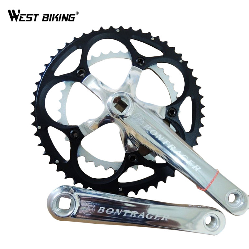 WEST BIKING Bicycle Crank Bike Chain Wheel Flooding MTB Bike Parts 9 Speed 39*53T Bike ChainWheel 170/175mm Bicycle Crank Set aluminum alloy bicycle crank chain wheel mountain bike inner bearing crank fluted disc mtb 104bcd bike part
