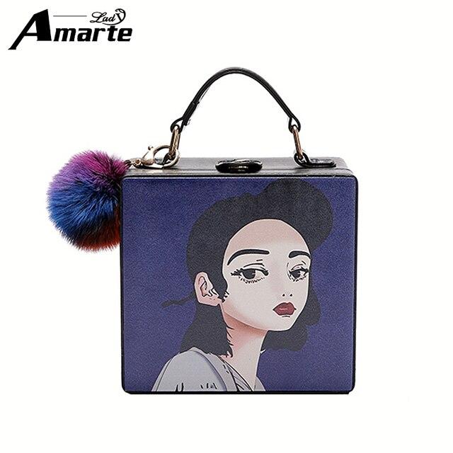 Amarte 2017 Winter New Square Box Handbags Luxury Design Character Printing Ball Pendant Crossbody Bags Messenger