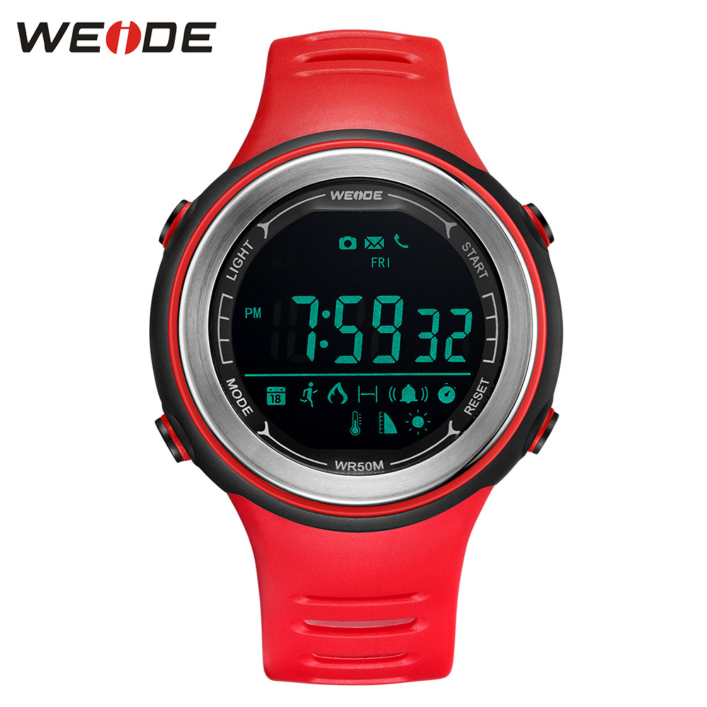WEIDE Sports Smart Watch LCD Digital Step Counter Bluetooth Heat Rate monitor 50 bar Repeater Electronic Devices For IOS Android