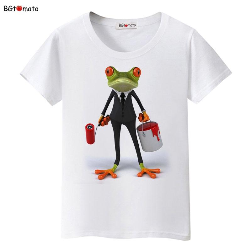 BGtomato 3D Brush Paint Frog T Shirt Women Originality Summer Funny Shirt Brand Good Quality Comfortable Soft Casual Shirts