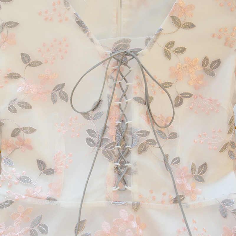 Летние японские милые для девочек принцесс Kawaii платья с вышивкой в стиле ретро-корт Пышное Платье с расклешенными рукавами женские праздничные платья 206
