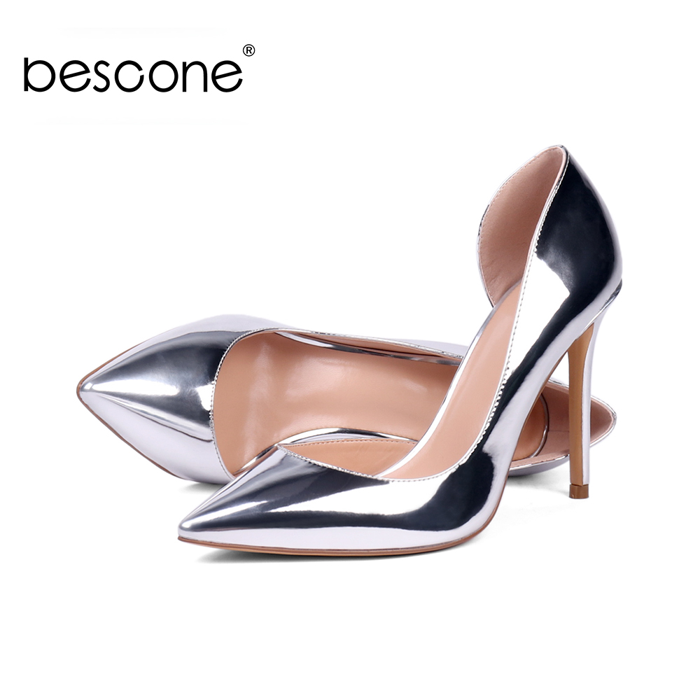 BESCONE Casual Shallow Handmade Ladies Pumps Sexy Pointed Toe Thin Heel Shoes New Slip-On 10 cm Super High Women BY02