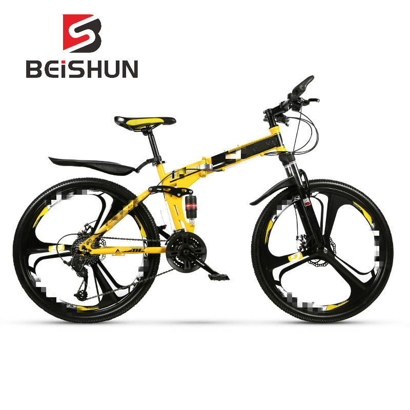 Folding Mountain Bike Bicycle 26 Inch Double Shock Absorbing Overall Wheel Bicycle Speed Bicycle