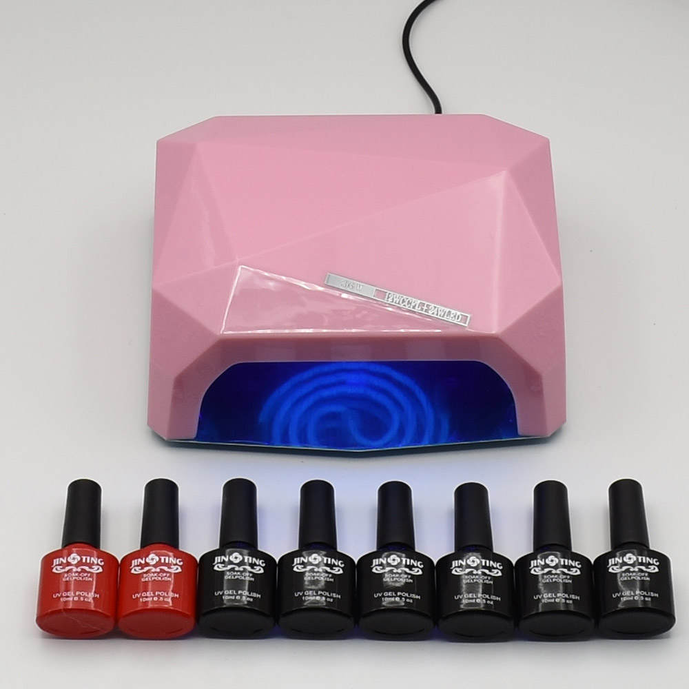 ФОТО 10ml 6pcs/set colors soak off uv gel nail polish nail art vernish 36W UV Lamp batte top base coat professional nail polish set