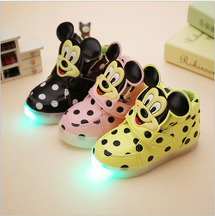 New 2016 Super Cool LED lighted kids shoes fashion Spring/Auntum boys girls children sneakers Lovely baby boots size 21-30