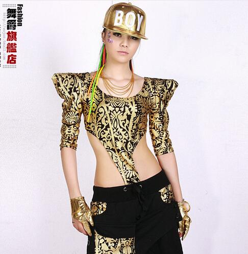 New fashion 2017 hip hop street ds Adult girls clothing bronzoer Jumpsuits top slim bar dance performance costumes T-shirts Top