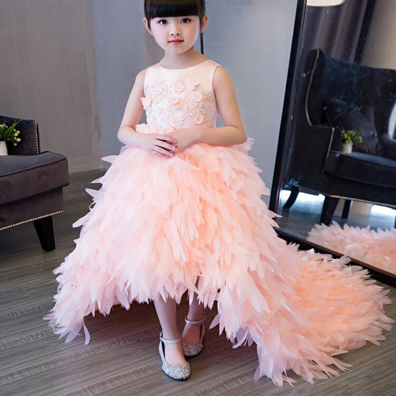 Appliques Flower Girl Dresses with Long Tailing Sleeveless Ball Gown Kids Girl Pageant Dress for Tulle Mother Daughter Dresses fashionable sleeveless sequins embellish multilayered flower spliced mini ball gown dress for girl