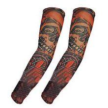 Elastic Skull sample Stocking Fake  Arm Sleeve 2PCS Orange