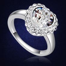 Элегантное модное женское кольцо в форме сердца с кристаллами