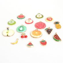 Wholesale Drop Oil Enamel Charms Metal Alloy Apple/Orange/Strawberry Charm Pendants for Earrings Necklace Jewelry Making Craft(China)