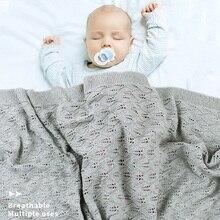 Bebek battaniyesi örme pamuk yaz şeyler yenidoğan kundak arabası battaniye giyim Cobertor Infantil Wrap aylık çocuk yorgan