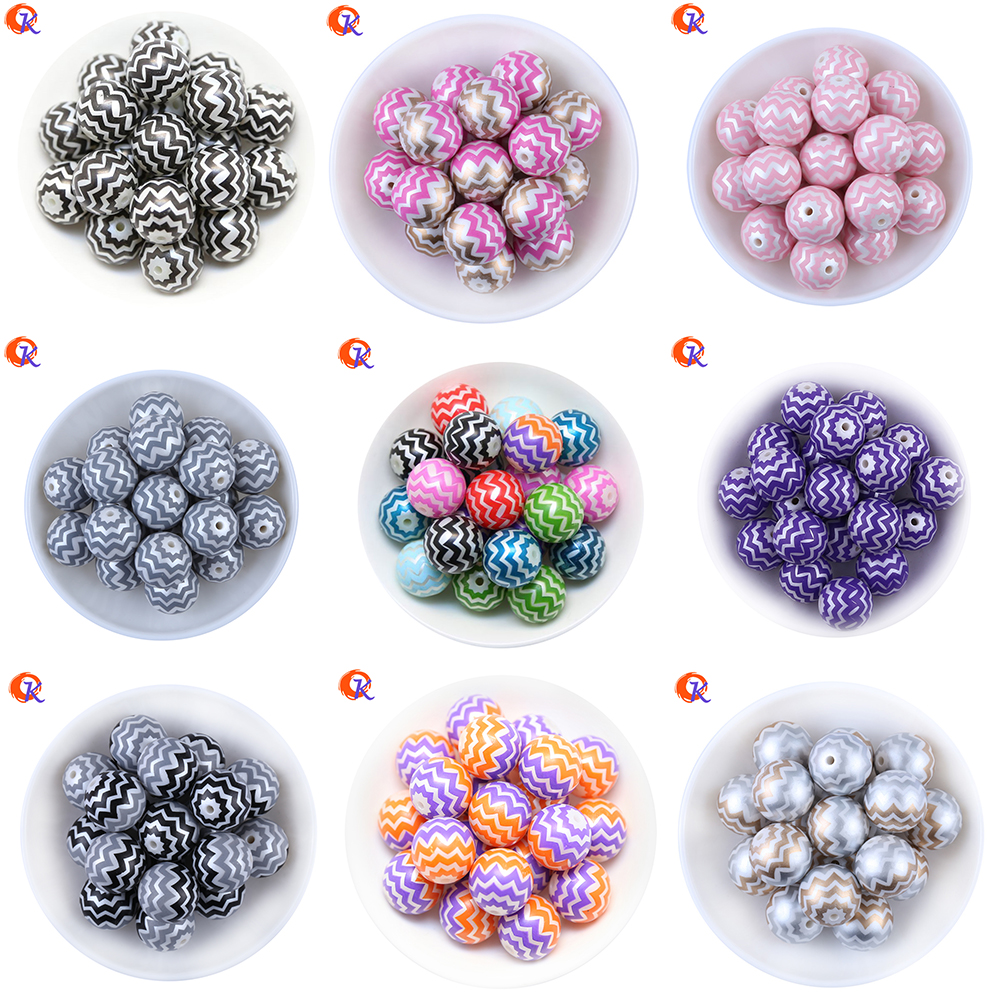 Fashion Jewelry 20mm 100pcs/lot Print Beaded Mix Color Chevron On Acrylic Pearl Beads For Kids Handmade Chunky Necklaces Jewelry