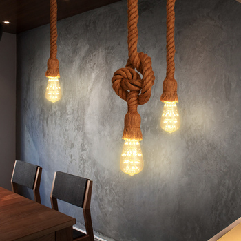 Rope Chandelier Ceiling Light Pendant Lamp 1/2/3 Meters Single /Double Bulb Base AC220V Vintage Style Chandeliers Dining Hall image