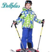 Russe D'hiver Enfants Filles de Costume de Ski En Plein Air Coupe-Vent Imperméable Ski Veste + Bib Pantalon 2 Pcs Garçons Ski Ensemble Pour 3-16 T