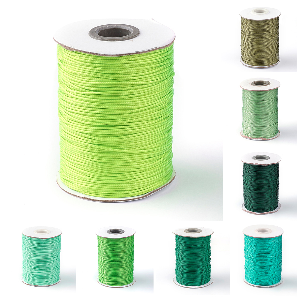 Pandahall Approx 88yards/roll 1.0mm Green-Color Series Korean Waxed Polyester Cord Beading String Bracelet Necklace Accessories