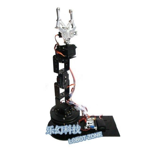 Robotic Manipulator 6 Dof Metal Robot Arm (3D Rotation Base+ Metal Mechanical Claw + 6 pcs High Torque Servos RC Toy
