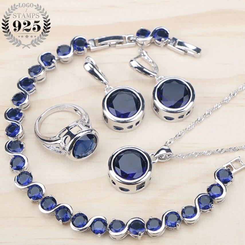 3d89b57548cc Conjunto de joyas de plata 925 para mujer 2018 anillos de circonita cúbica  azul pulseras pendientes COLLAR COLGANTE caja de regalo gratis