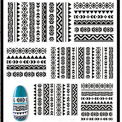 1 sheet Born Pretty Tribal Geo Pattern Nail Art Sticker Water Decals Nail Stickers Water Transfer Sticker BP Nail Art #21576