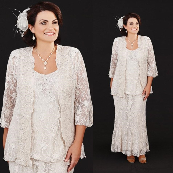 US $108.5 38% OFF|2019 Vintage Mother Of The Bride Dresses Suit 3 Pieces  Champagne Lace Mothers Wedding Guest Dress Plus Size Mother of Groom  Gown-in ...