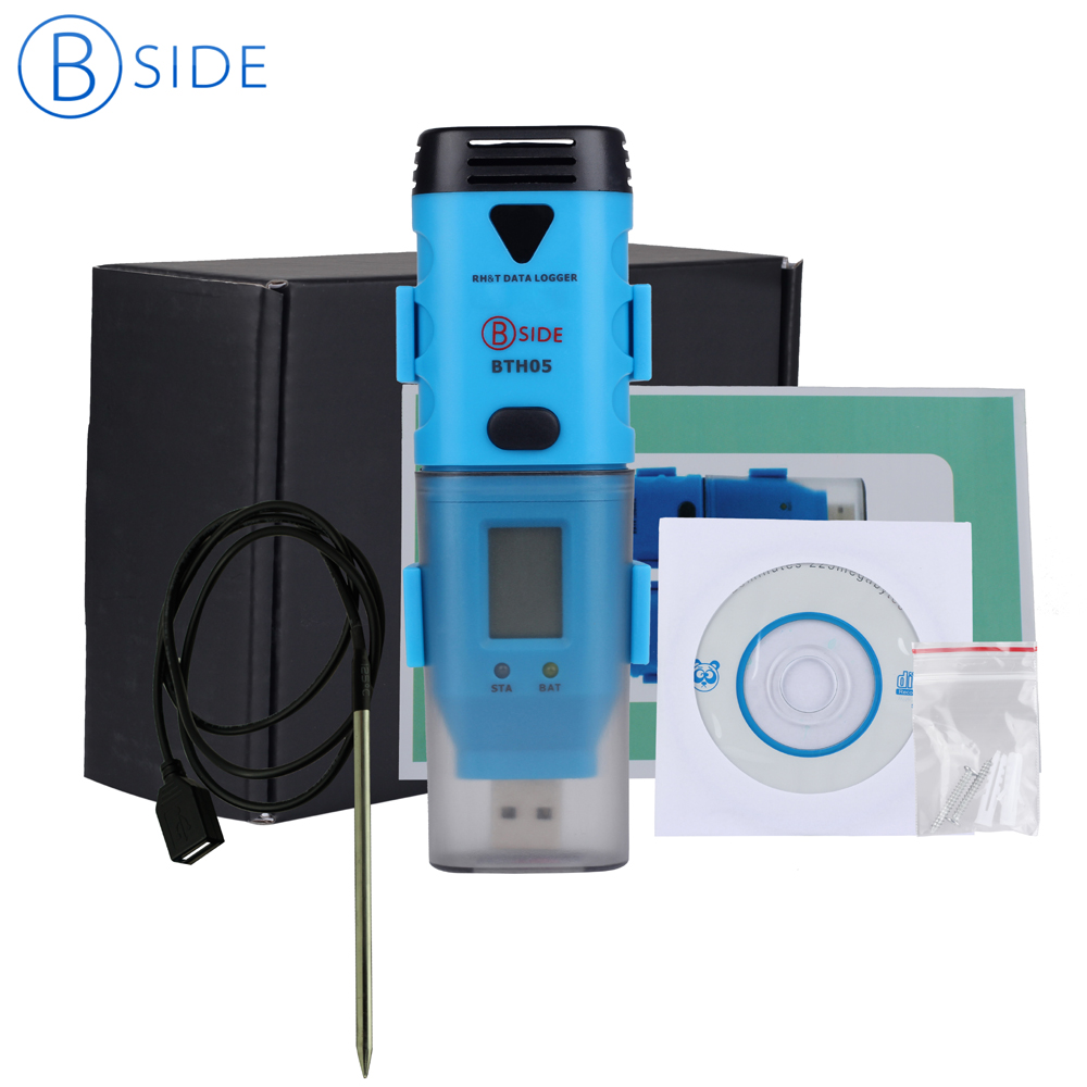 BSIDE BTH05 Portable Mini 3-Channel USB Data Logger Internal External Temperature -40C~125C Humidity tester with retail box handheld professional humidity and temperature sd data logger with built in internal