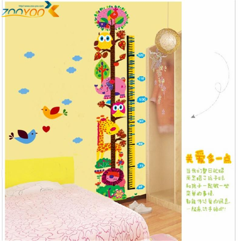 giraffe growth chart wall stickers for kids room home decorations ...