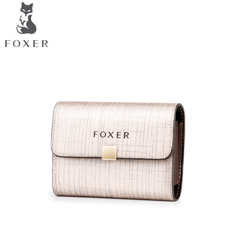 FOXER Women Wallets Card-Holder Large-Capacity Fashion Brands Short Paragraph Bag New