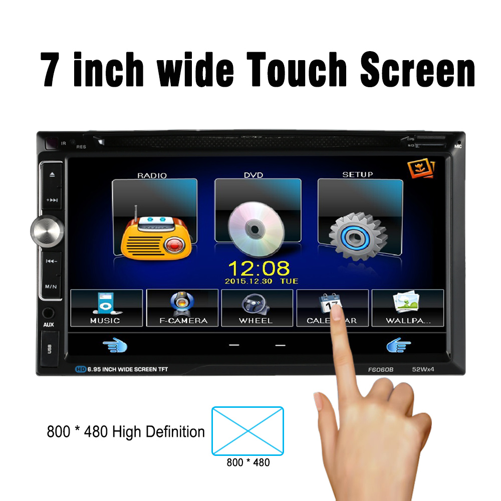 7 Universal 2 Din HD Car Stereo DVD Player Bluetooth USB TF FM Aux Input Radio