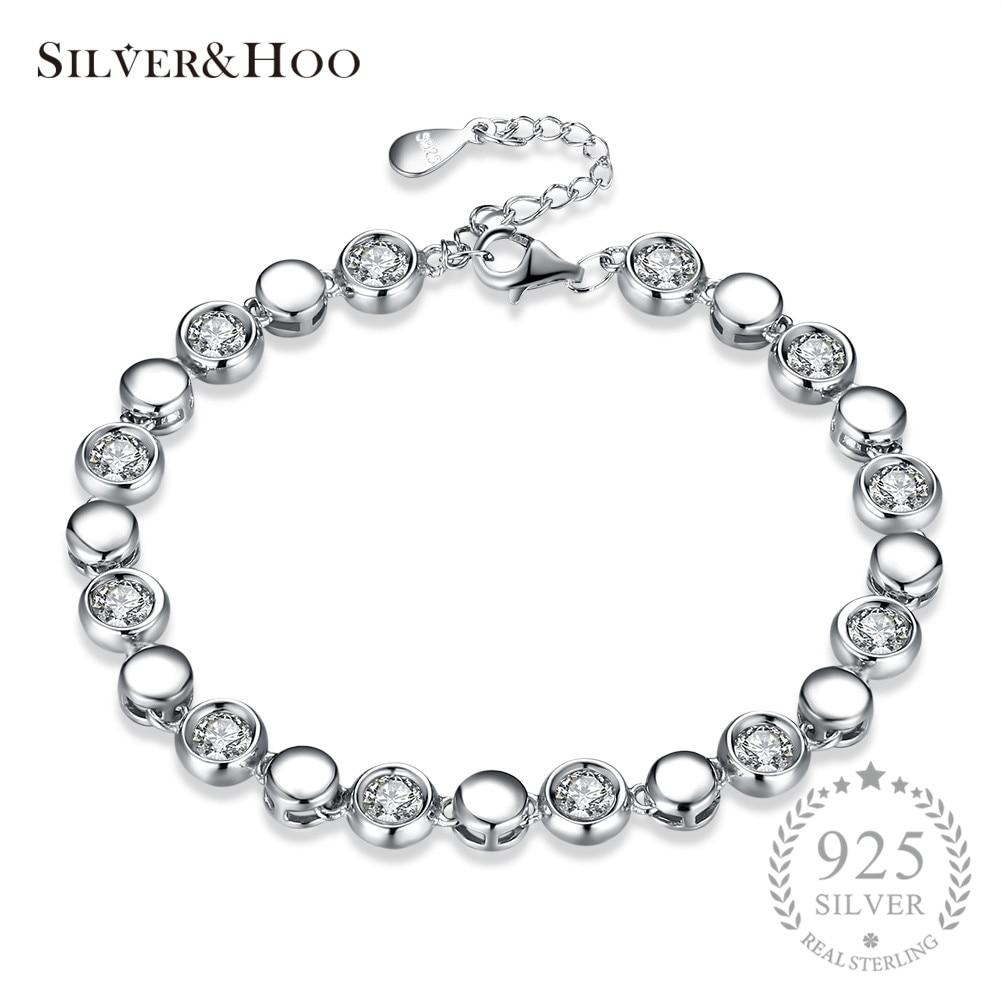 SILVERHOO 925 Sterling Silver Bracelets Elegant Simple Design Round Cut Cubic Zircon Bracelet Charming Bangle for Women Wedding pair of elegant faux gem zircon oval floral bracelet for women