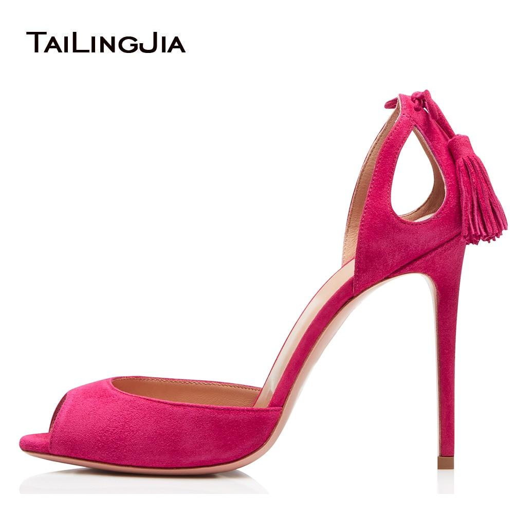 купить Women Peep Toe High Heel Sandals with Tassel Pink Cut Outs D'Orsay Black Evening Dress Heels Ladies Summer Heeled Shoes 2018 по цене 3759.92 рублей