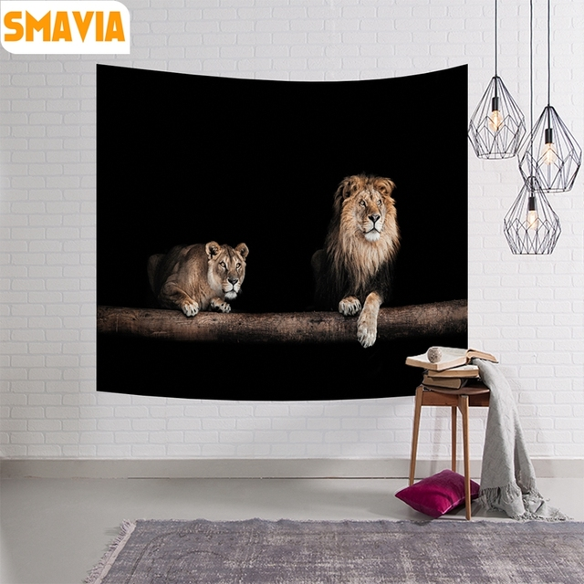 SMAVIA Lonely Lion King Wall Hanging Tapestry Polyester Ceiling Decoration  Beach Towel Tablecloth Picnic Mat 150