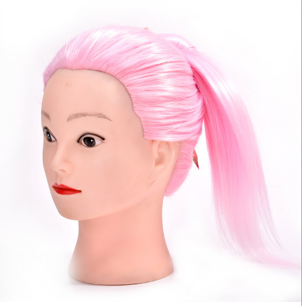 Pink Hair Hairdressing Doll Heads Training Manikin Head With Hair Pink manik Cosmetology Educational Sale Hair Mannequin Head