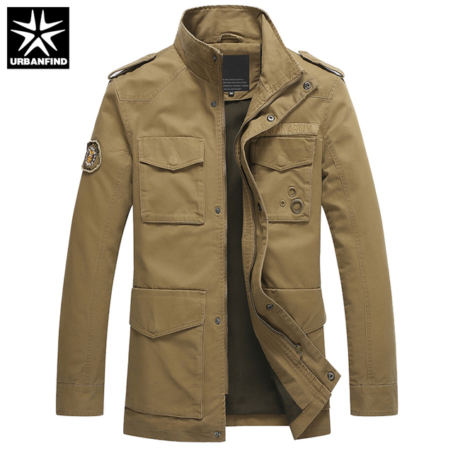 fa62f24068d URBANFIND Multi Pocket Decoration Men Military Cotton Jacket Size M-3XL  Classic Design Man Casual Spring Coat Army Green   Khaki