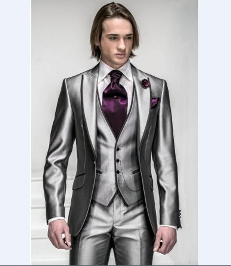 New Arrival Groomsmen Silver Grey Groom Tuxedo Wedding/Dinner/Evening Suits Best Man Bridegroom (Jacket+Pants+Tie+Vest) B140