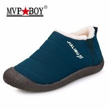 MVP BOY HOT Sale Autumn Winter Casual Snow Boots Men Waterproof Ankle Boots Flat Slip-Resistant Fashion Slip-On Man Winter Shoes
