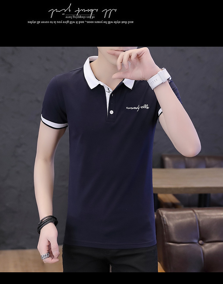 2019 men splicing t-shirts with short sleeves Comfortable in summer youth leisure lapel t-shirts 16