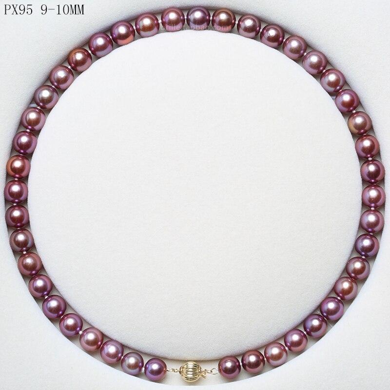 BaroqueOnly 925 argent sterling 5A + naturel collier de perles d'eau douce ronde chaîne chandail violet foncé doré livraison gratuite 45 cm 2019