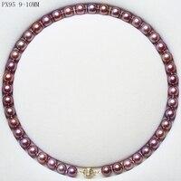 BaroqueOnly 925 стерлингового серебра 5A + натуральный пресноводный круглый жемчуг Цепочки и ожерелья свитер цепи темно фиолетовый золотой Бесплат