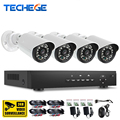 Techege 4CH 1080P AHD DVR CCTV System 1080P Sony IMX322 AHD IR Weatherproof Outdoor CCTV AHD Camera Home Security System P2P