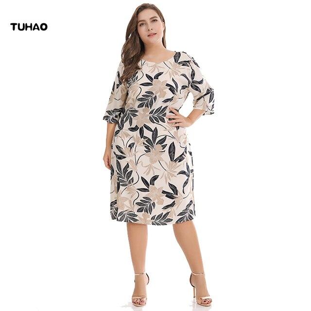 c8dec4c5c172 самый дешевый TUHAO плюс размер 3XL женские летние платья с принтом ...