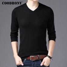 Coodrony marca suéter masculino com decote em v puxar homme outono inverno 100% puro lã merino camisolas macio quente cashmere pulôver masculino 93002
