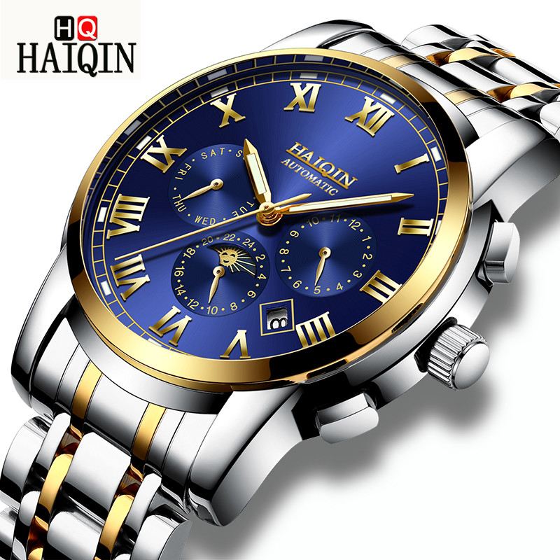 HAIQIN Mens Watches Top Brand Luxury Automatic Mechanical Watch Men Full Steel Business Waterproof Fashion Sport