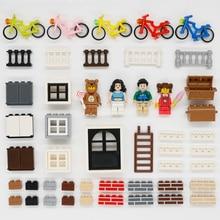 सिटी फ्रेंड्स एक्सेसरीज़ बिल्डिंग ब्लॉक हाउस पार्ट्स दरवाजा खिड़की बाड़ एमओसी ईंट शैक्षिक खिलौने बच्चे संगत लेगोइंगलीज
