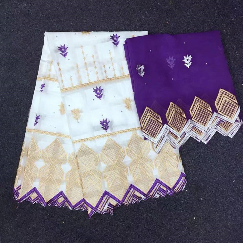Tissu africain en dentelle de coton suisse broderie 5 mètres de Voile suisse dentelle Dubai Voile suisse avec 2 mètres Scarf-CYE30 - 5