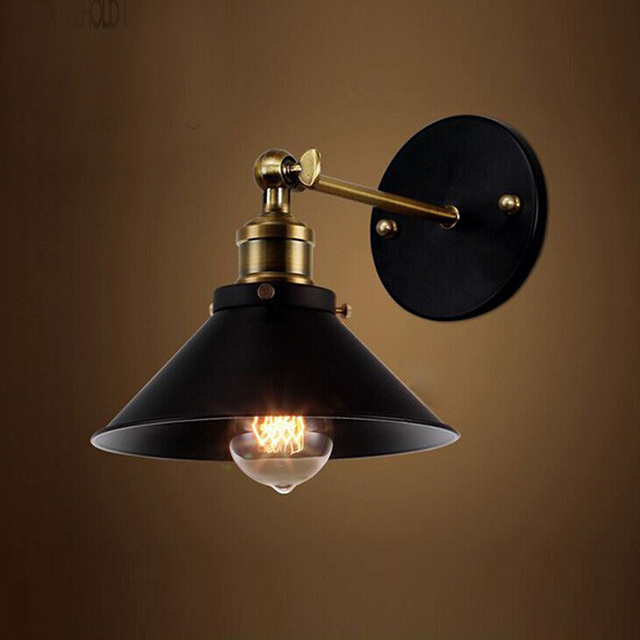 Metal Wall Light Umbrella Vintage Loft Lamp Retro Wall Lights for Home Sconce Edison Fixtures E27 Diameter 22cm